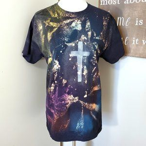 Spray Dyed Artistic Cross T Shirt